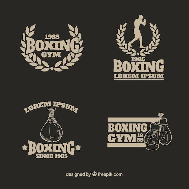 Colección de logos de gimnasio de boxeo vector gratuito