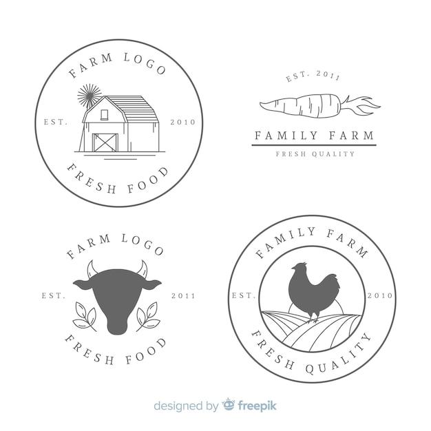 Colección de logos de granja en diseño plano vector gratuito