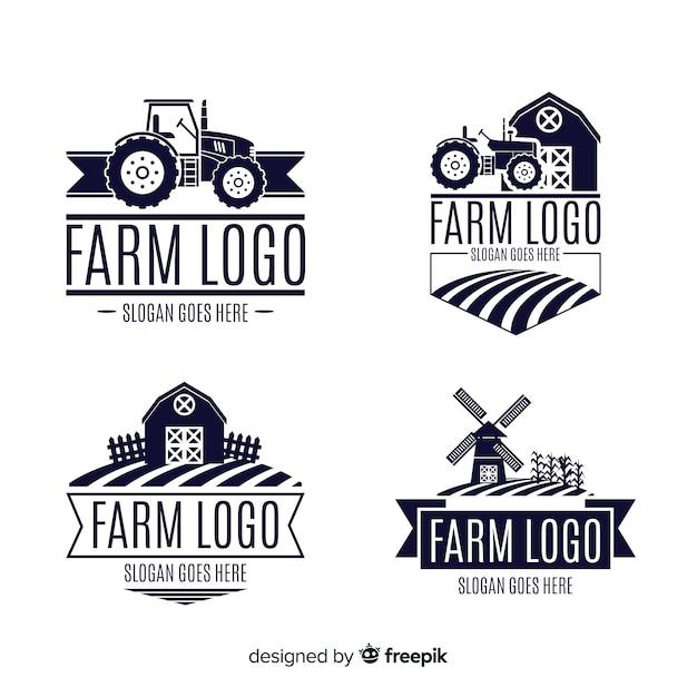 Colección logos granja planos vector gratuito