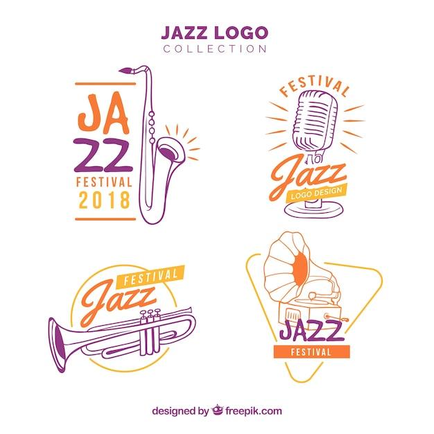 Colección de logos de jazz con estilo de dibujo a mano vector gratuito