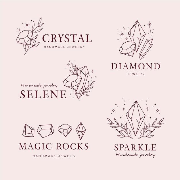 Colección de logos de joyas dibujados a mano vector gratuito