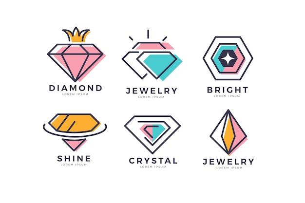 Colección de logos de joyería de diseño plano lineal vector gratuito