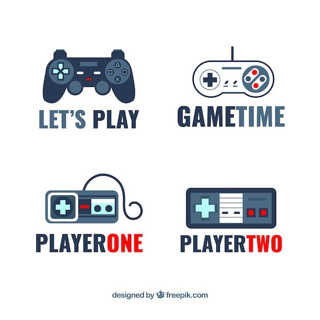 Colección de logos de joysticks con diseño plano Vector Premium