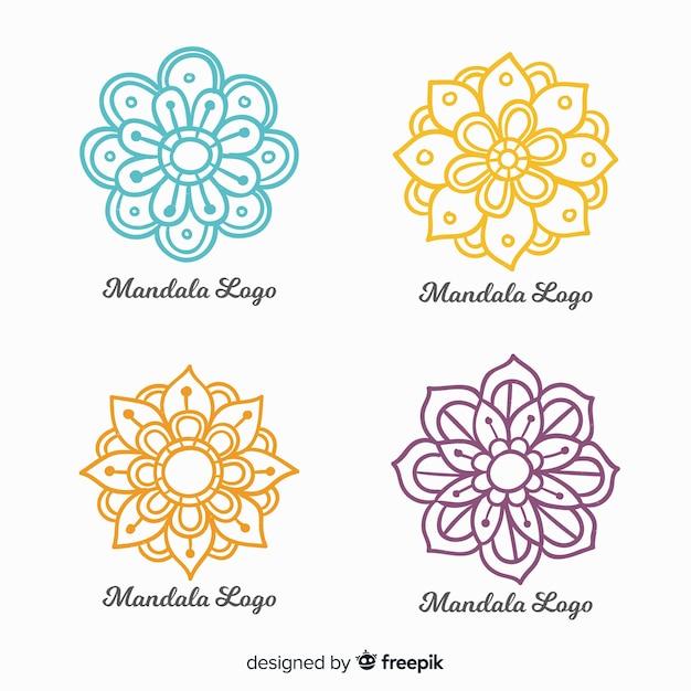 Colección de logos de mandala dibujados a mano vector gratuito