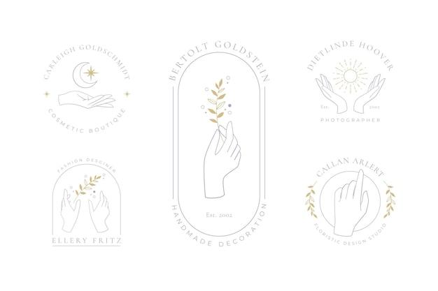 Colección de logos de manos minimalistas vector gratuito