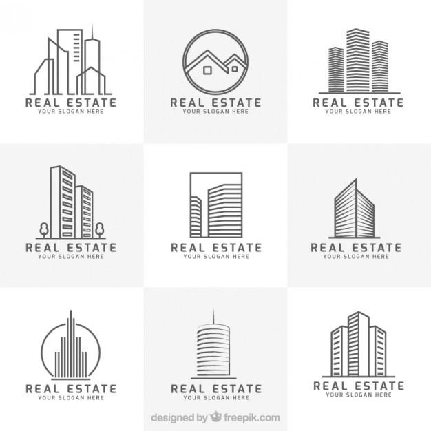 Colección de logos modernos de inmobiliaria vector gratuito