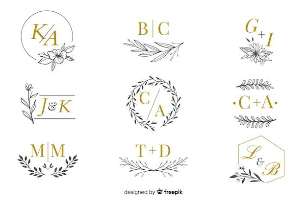 Colección de logos monograma de boda. vector gratuito