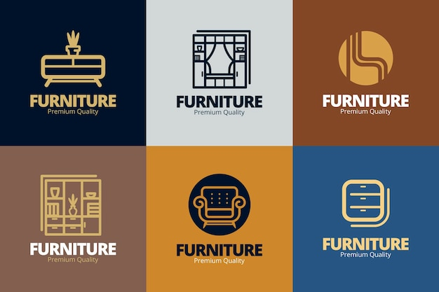 Colección de logos de muebles Vector Premium