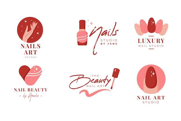 Colección de logos de nail art studio vector gratuito