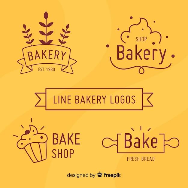 Colección logos pastelería simples vector gratuito