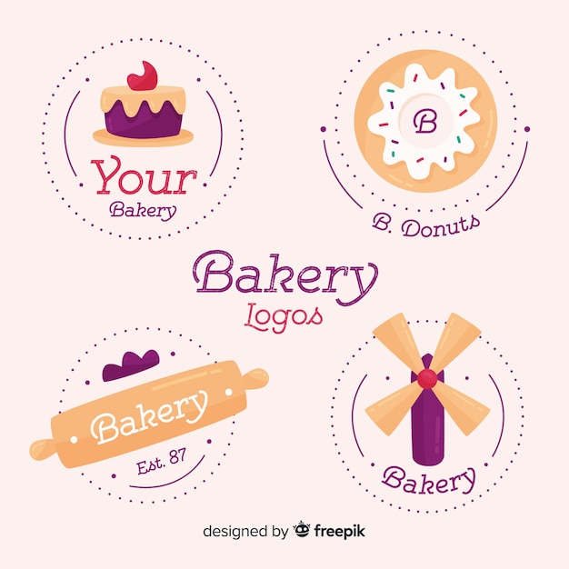 Colección logos pastelería vector gratuito