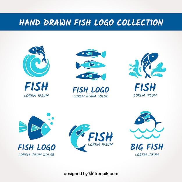 Colección de logos de peces para marcas de empresas vector gratuito