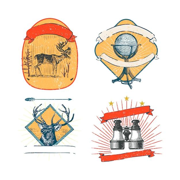Colección de logos y pegatinas vintage. vector gratuito