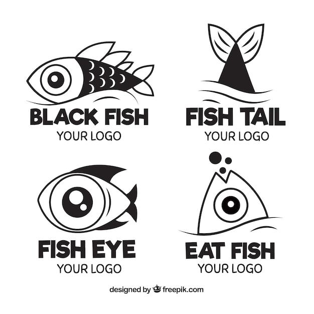 Colección De Logos De Pez En Blanco Y Negro Descargar Vectores Gratis