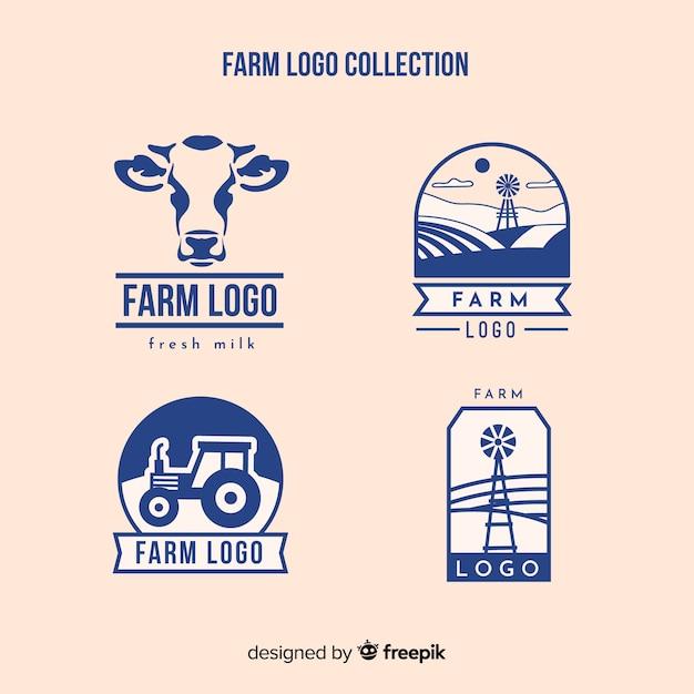 Colección logos planos de granja azules vector gratuito