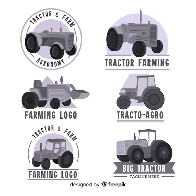 Colección logos planos de granja negros vector gratuito