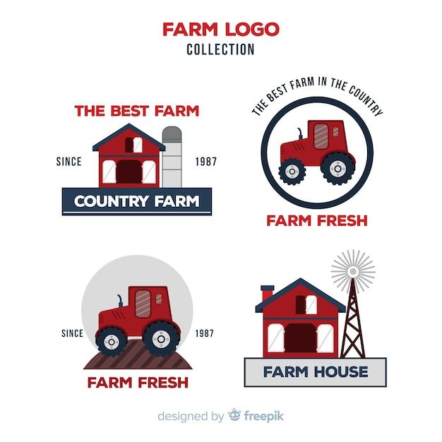 Colección logos planos de granja rojos vector gratuito