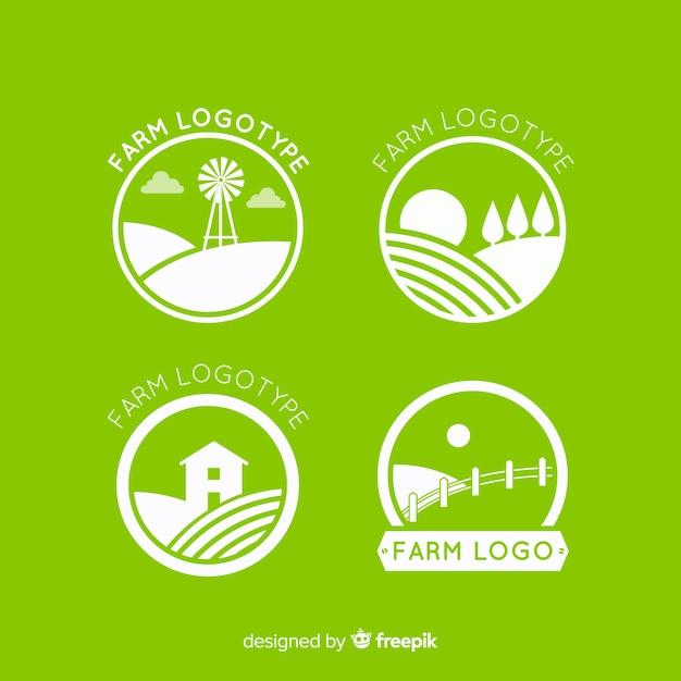 Colección logos planos de granja verdes vector gratuito