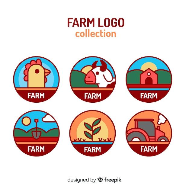 Colección logos planos de granja vector gratuito