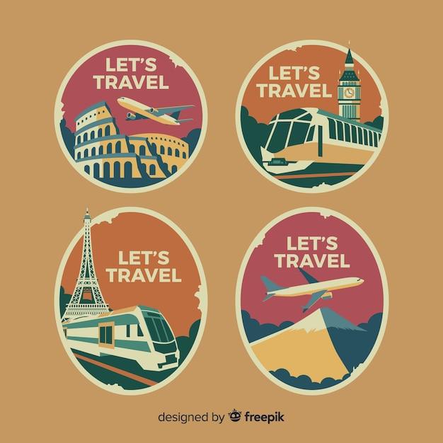 Colección logos planos vintage de viaje vector gratuito