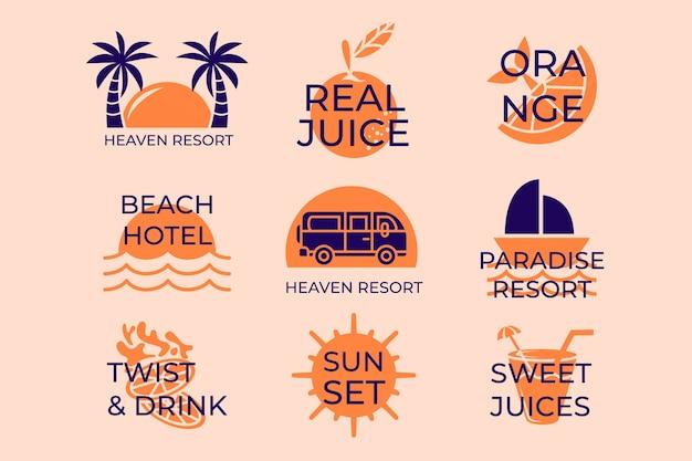 Colección de logos de playa de verano minimalista vector gratuito