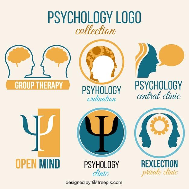 Colección de logos de psicología azul y naranja vector gratuito