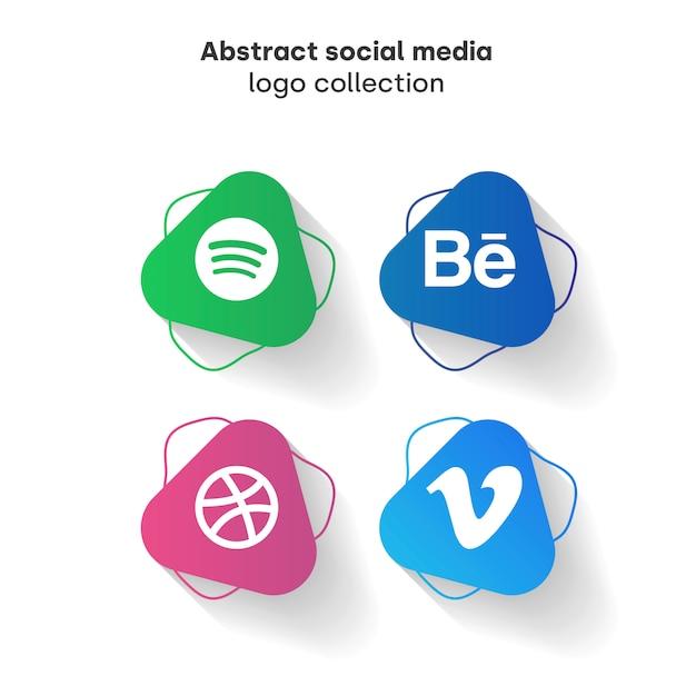 Colección de logos de redes sociales abstracta vector gratuito