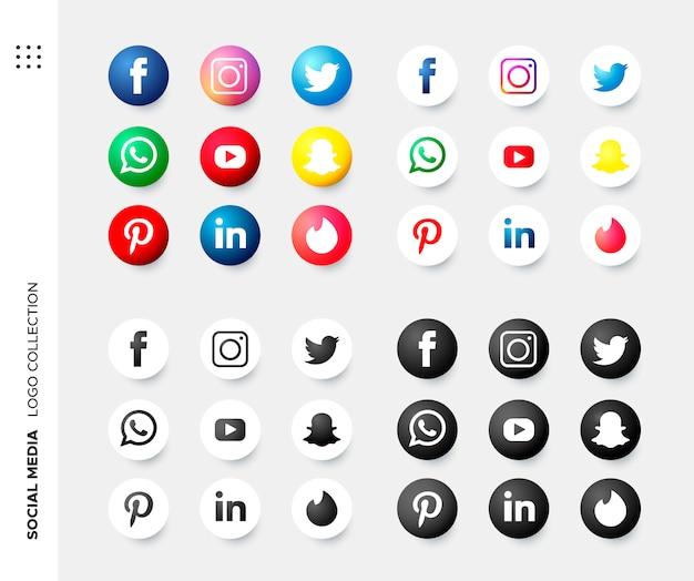 Colección de logos en redes sociales. vector gratuito
