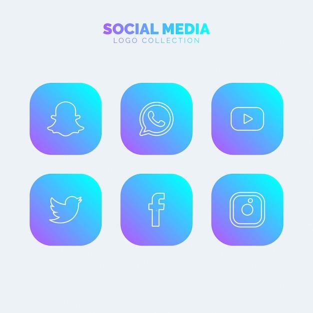 Colección de logos de redes sociales vector gratuito