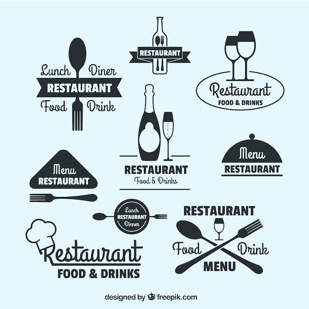 Colección de logos de restaurante dibujados a mano vector gratuito