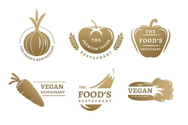 Colección de logos de restaurante retro dorado vector gratuito