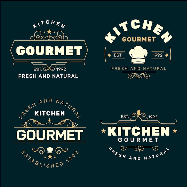 Colección de logos de restaurantes retro vector gratuito