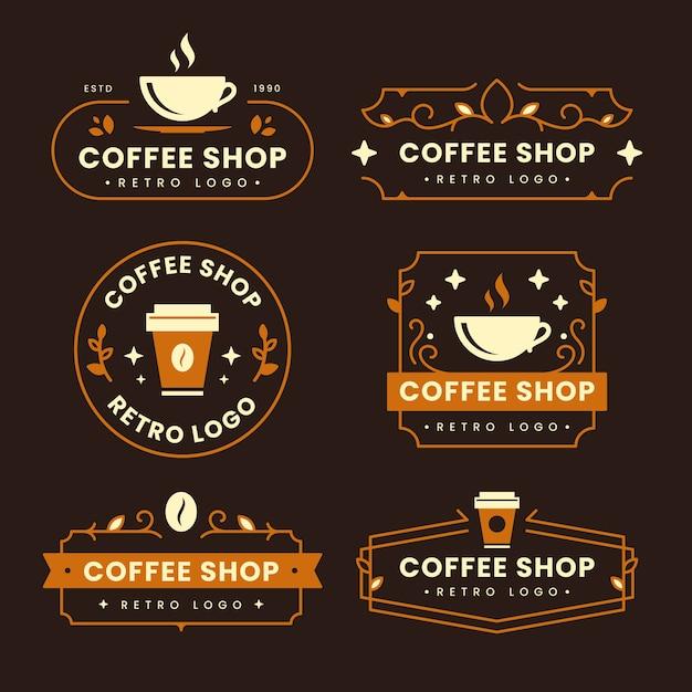 Colección de logos retro de cafetería vector gratuito