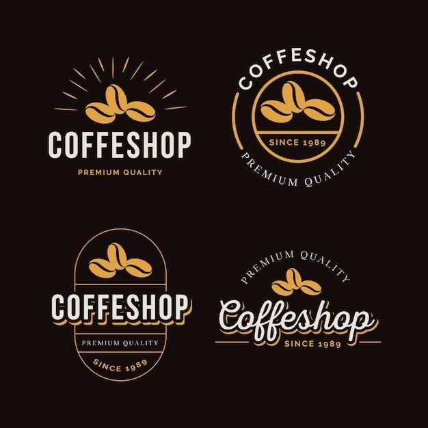 Colección de logos retro de cafetería Vector Premium