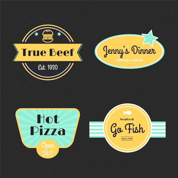Colección de logos retro de restaurante vector gratuito