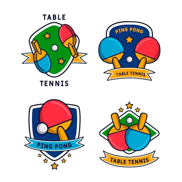 Colección de logos de tenis de mesa vector gratuito