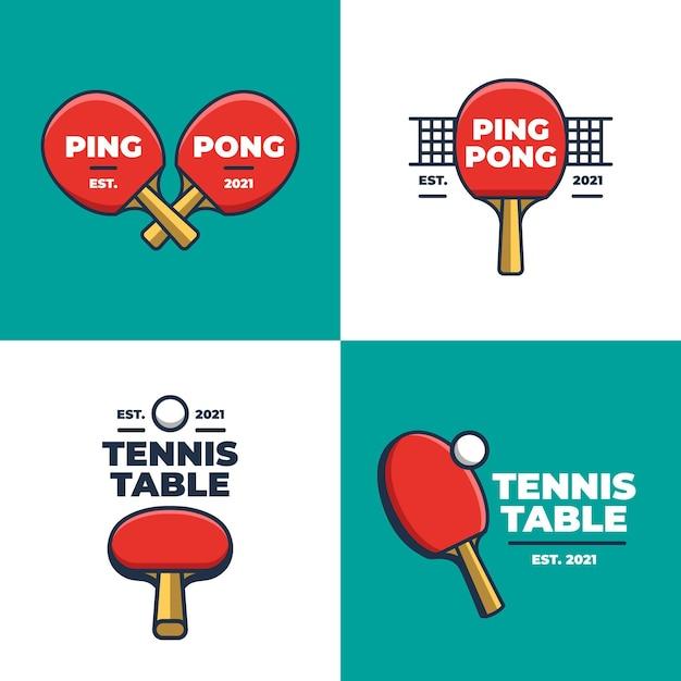 Colección de logos de tenis de mesa Vector Premium