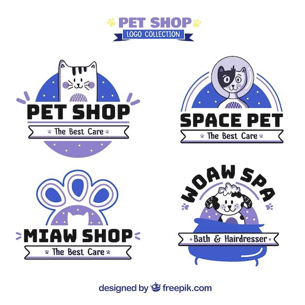 Colección de logos de tienda de mascotas vector gratuito