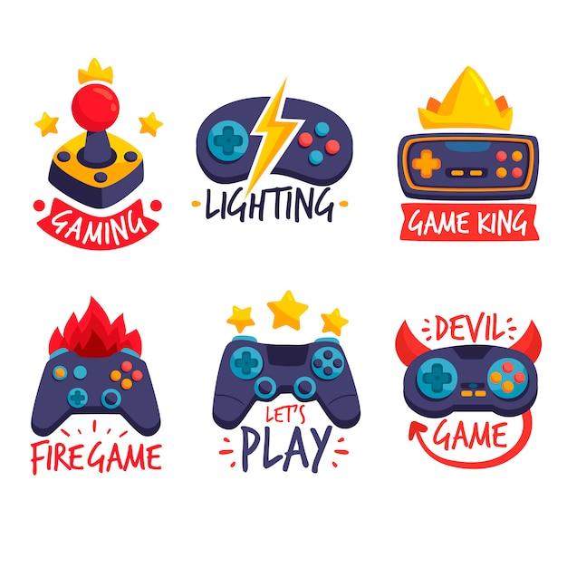 Colección de logos de videojuegos con diseño plano Vector Premium