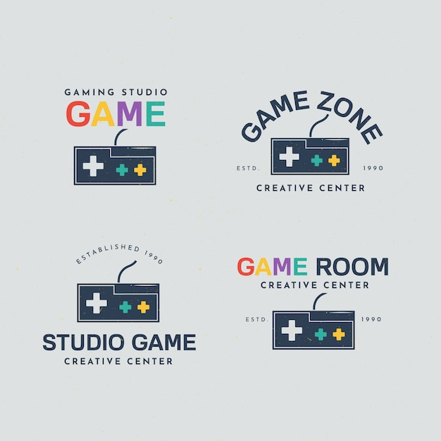 Colección de logos de videojuegos con diseño plano vector gratuito