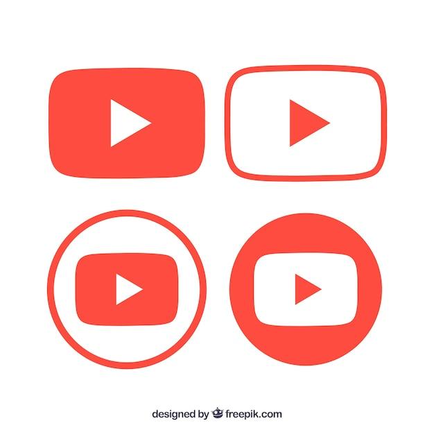 Colección de logos de youtube con diseño plano Vector Premium