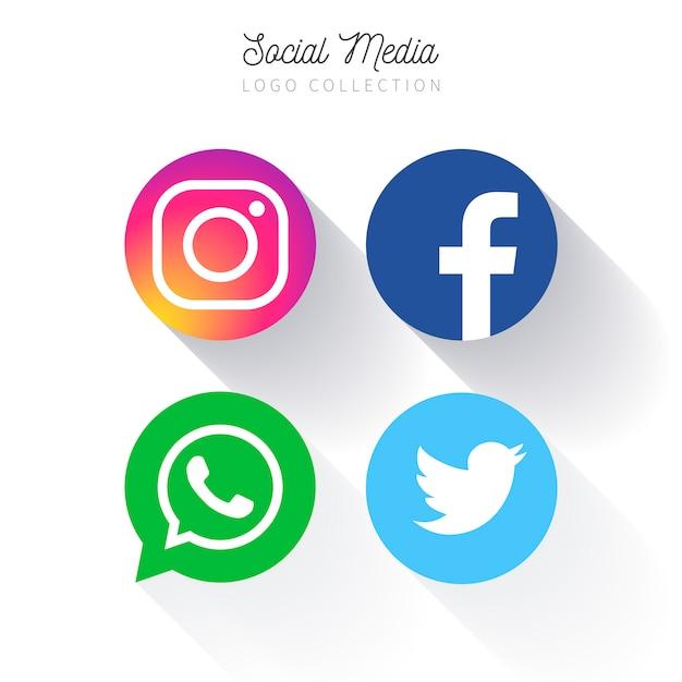Colección de logotipo circular de redes sociales populares vector gratuito