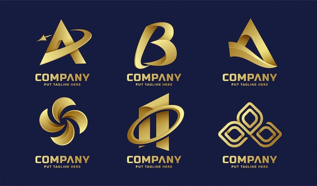 Colección de logotipo dorado abstracto de negocios Vector Premium