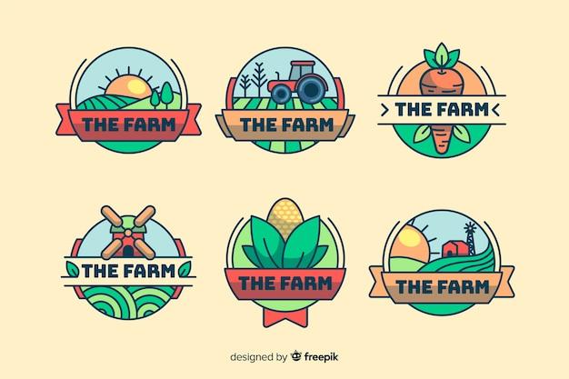 Colección de logotipo de granja de estilo plano. vector gratuito