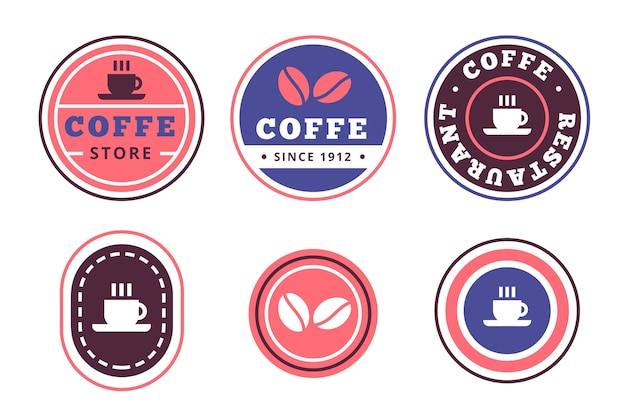 Colección de logotipo minimalista colorido estilo retro vector gratuito