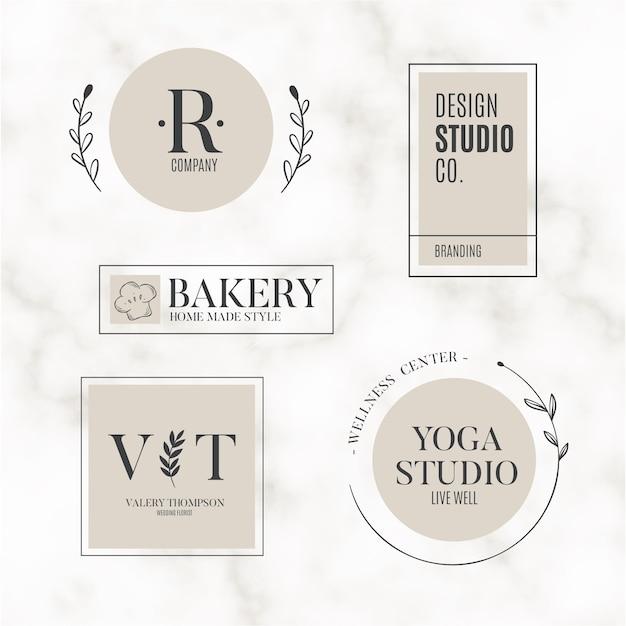 Colección de logotipo minimalista de fondo de mármol vector gratuito