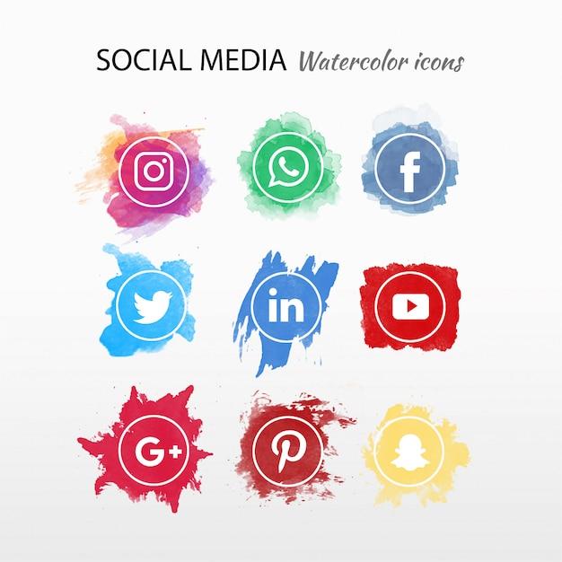 Colección de logotipo de redes sociales acuarela. vector gratuito