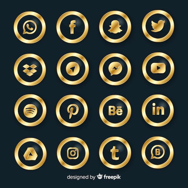 Colección de logotipo de redes sociales de lujo vector gratuito