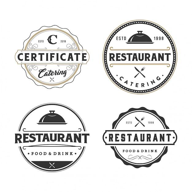 Colección de logotipo del restaurante y distintivos Vector Premium