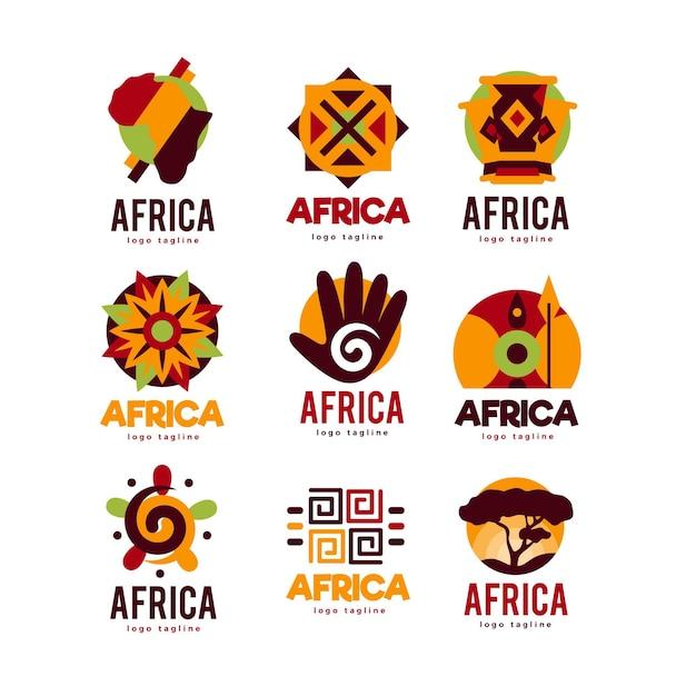 Colección de logotipos de áfrica vector gratuito